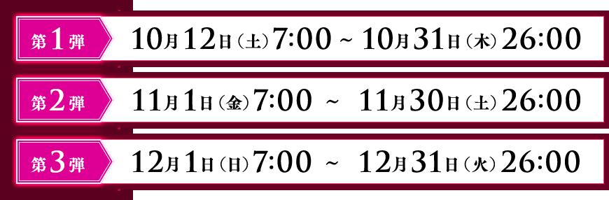 第1段10月12日(土)7:00~10月31日(火)26:00 第2弾11月1日(金)7:00~11月30日(土)26:00 第3弾12月1日(日)7:00~12月31日(火)26:00