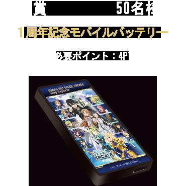 B賞:オリジナルモバイルバッテリー 50名様 必要ポイント:3PT